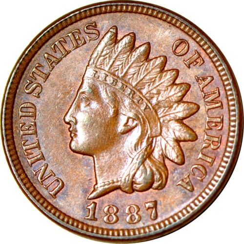 1887 1C 7 in Denticles MPD-003 S-15 Indian Head Cent UNC BN  K10271