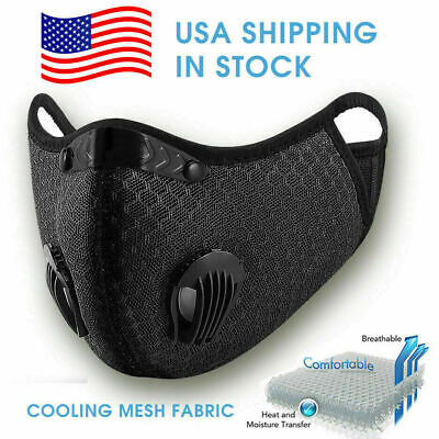 Reusable Cycling Face Mask With Active Carbon Filter Breathing Valves Unisex Usa