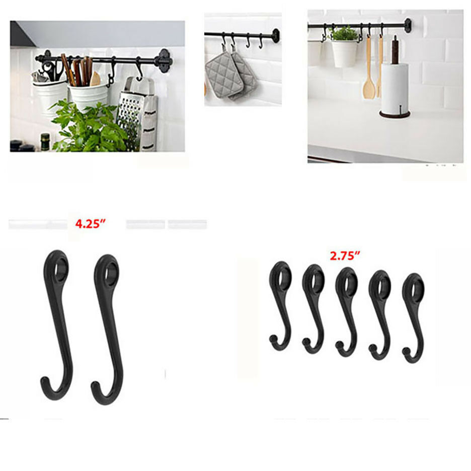 "IKEA Rail Hooks FINTORP Utensil Holder 2.75"" or 4.25"" Kitche"