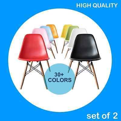 Set Of 2   30 Colors Mid Century Modern Dsw Plastic Chair Wood Eames Esque