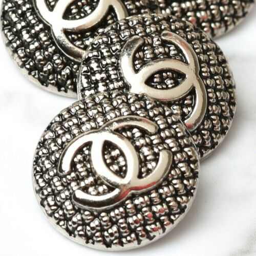 Chanel Buttons 2pc CC Silver 20mm Vintage Style 2 Buttons unstamped AUTH!!!