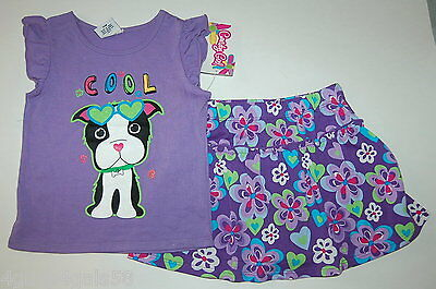 RUFFLED SKORT & Tee Shirt CANDY GIRL Cool Dog PURPLE Floral  FLOWERS 24 Months