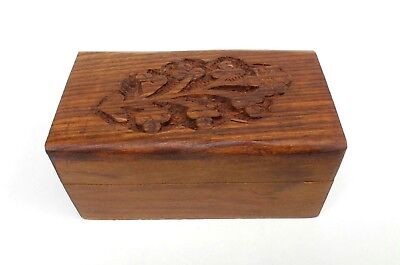 Small Wood Jewelry Box Carved Flower Design Keepsake Trinket Box A
