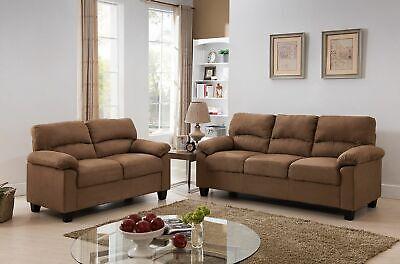 Kings Brand Furniture- 2 Piece Microfiber Sofa & Loveseat Living Room Set, Brown