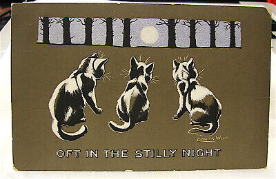 """Antique---Signed--""""Louis Wain"""" PC-----""""OFT IN THE STILLY NIGHT"""""""