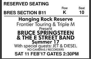 2x Springsteen tickets to sold out Hanging Rock show Mount Macedon Macedon Ranges Preview