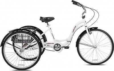 Adult Tricycle 26 in. White Folding Aluminum Frame 1-Speed H