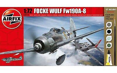 Airfix Focke Wulf Fw190A-8 Set W/ Glue, Paints,& Brush 1:72 Model A68210M