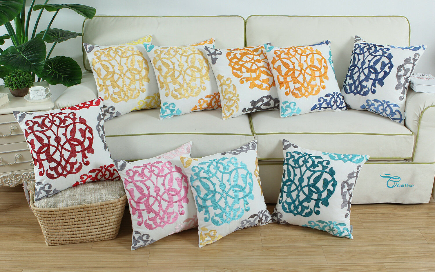 CaliTime Floral Embroidered Throw Cushion Covers Pillow Shel