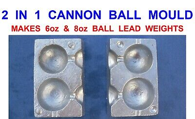 2 IN 1 CANNON BALL MOULD 6oz & 8oz SEA FISHING LINE QUICK DROP BOAT LEAD WEIGHTS