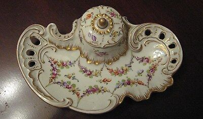 Beautiful Antique Hand Painted Floral Porcelain Dresden Germany Ink Well Tray