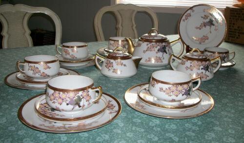 Japanese Tea Set for 6; Kutani or Nine Valleys
