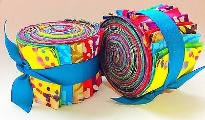 Batik Fabric 2.5 inch Jelly Roll 100% cotton fabric quilting strips 20 PIECES