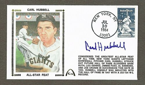 Carl Hubbell Autographed Silk Cachet 1st Day Cover NM+ New York Giants with COA