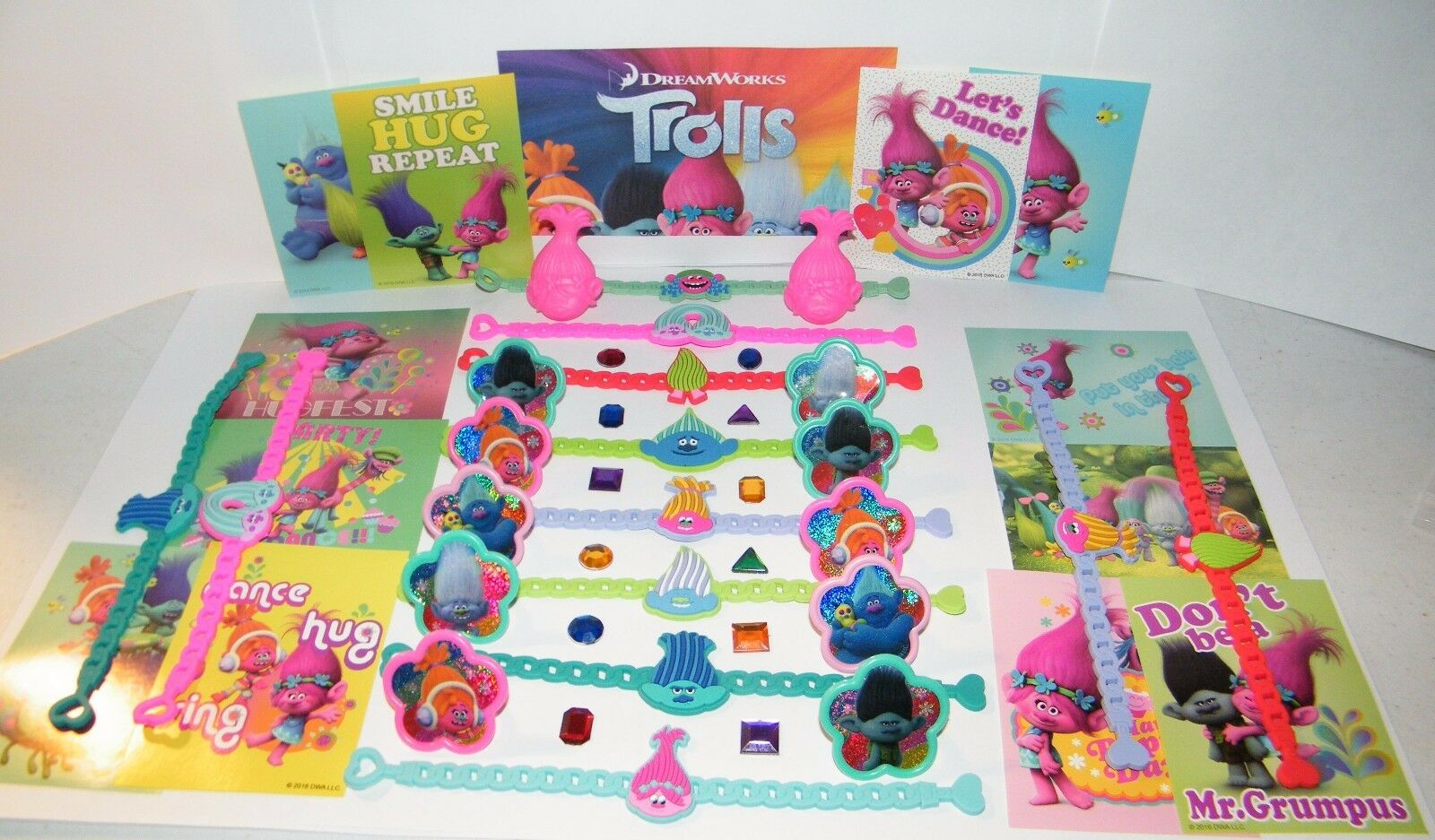 Trolls Movie Party Favors Set of 48 with Bracelets, rings,