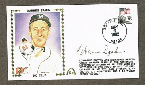 Warren Spahn Autographed Silk Cachet 1st Day Cover NM+ Milwaukee Braves with COA