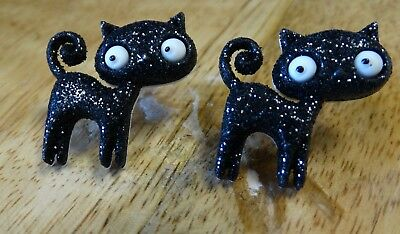 New Handmade Sparkle Black Cat Halloween Cartoon Stud Earrings Fun Whimsical - Cartoon Halloween Black Cat