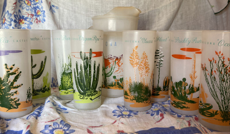 Blakely Oil & Gas - Arizona Cactus Frosted Finish Pitcher and Eight Glasses