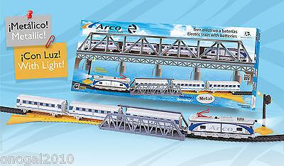 Tren Electrico Metalico con LUZ ARCO Renfe con Puente y Accesorios Pequetren...