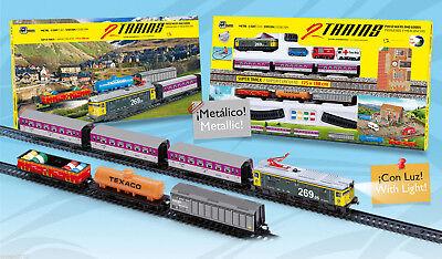 Tren Electrico DOBLE Metalico con LUZ de Viajeros y Mercancias 900