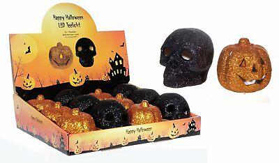 LED Teelicht Halloween Glitzer Totenkopf Kürbis Kerze Party flackernd ()