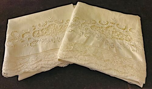 Pair Vintage Embroidered Linen Pillowcases w/ Lace Trim - King  WW65