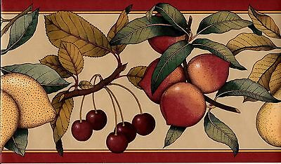Fruit on the Branches with Red Trim WALLPAPER - Fruit Red Trim