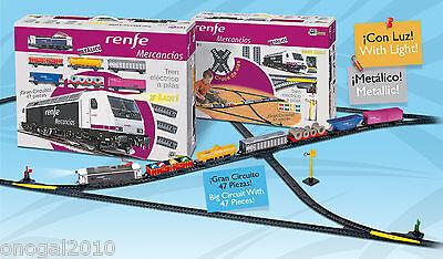 Tren Electrico Metalico LUZ de Mercancias de Renfe Cruces Desvios Pequetren 888
