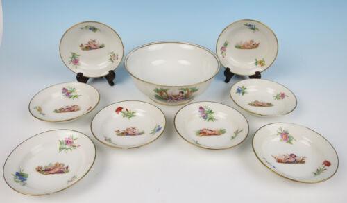 Antique Limoges Porcelain 9pc CHERUBS Berry Set Dessert Bowls French Flowers