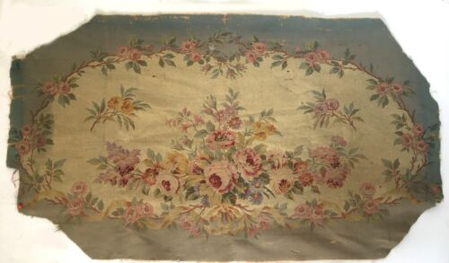 Beautiful 19th C.French Cotton, Wool, Linen Machine Woven Aubusson Textile -3176