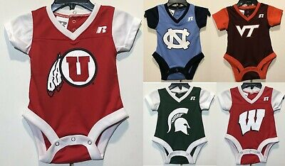New NCAA Infant Football JERSEY Newborn One piece College Baby Shirt -Choose One