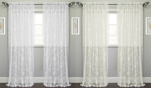 Knitted Lace Window Curtain Single Panel Marine Life Motif 56″ x 84″ Curtains & Drapes
