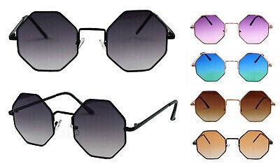 Achteckige Retro Sonnenbrille 60er 70er Jahre Octagon Hippie Lennon Steampunk ()