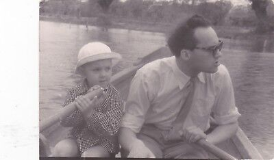 1950s Father with son in boat man boy fashion river old Russian Soviet photo