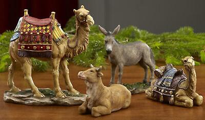 """14"""" Three Kings Animals Camel, Donkey, Ox Animal Real Life Nativity 4 Piece Set"""