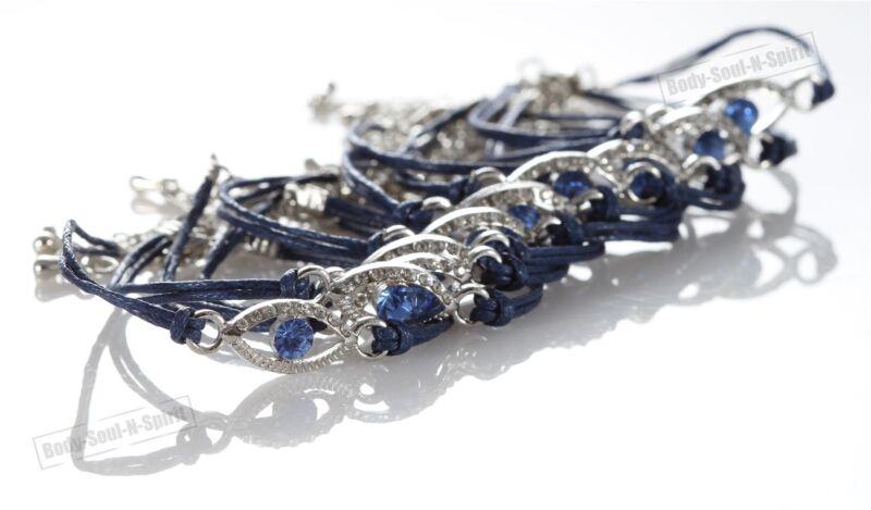 10 Blue Evil Eye woman Bracelets STRING Kabbalah Lucky Charm Spiritual Jewelry