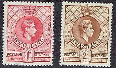 Swaziland 1938 sg29 1d Rose-Red & sg31 2d Yellow-Brown MNH