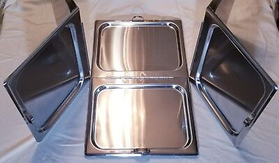 3 Full-Size Steam Table Pan Cover, Hinged Flat Hotel Chafing Dish Folding Lid - Full Steam Table Pan
