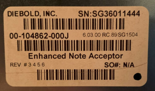 Diebold Opteva ENHANCED NOTE ACCEPTOR ASSEMBLY 00-104862-000J