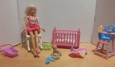 Barbie/simba Nursery Playset With Doll Furniture And Accessories