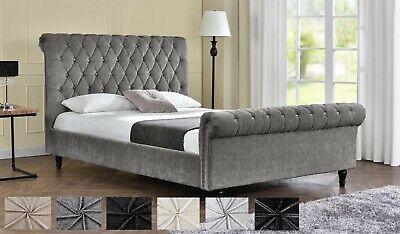 Velvet Chenille Chesterfield Upholstered Fabric Double King Size Bed Frame NEW