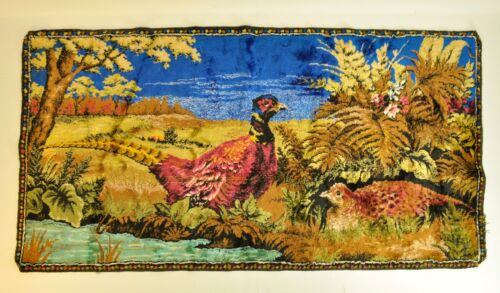 "Vintage 38 X 19"" Lebanese Tapestry Pheasant Countryside"