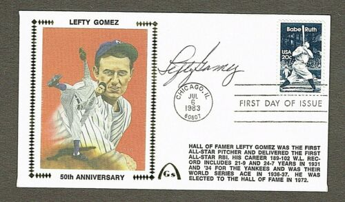 Lefty Gomez Autographed Silk Cachet 1st Day Cover NM+ New York Yankees with COA