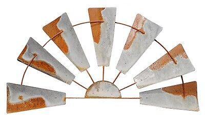 """Farmhouse Rustic Zinc Metal Half 1/2 Windmill Wall Home Decor 19.5"""" NEW KK9836"""
