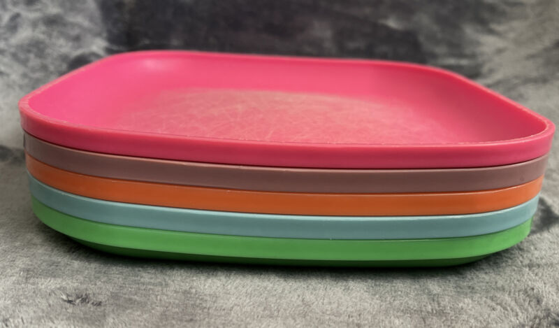 "5 Vintage Tupperware 8"" Square Lunch Plates Picnic Camping #1534 ~ Free Ship"