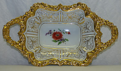Antique Meissen Handled Bowl Hand Painted Flowers & Gold Crossed Swords Pfeiffer