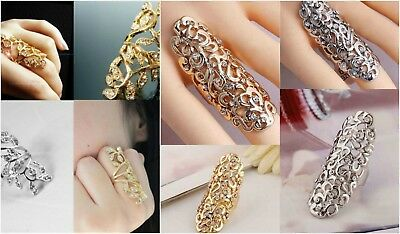 Fashion Joint - Full Finger Long Women's Fashion Rhinestone Filigree Joint Knuckle Armor Ring
