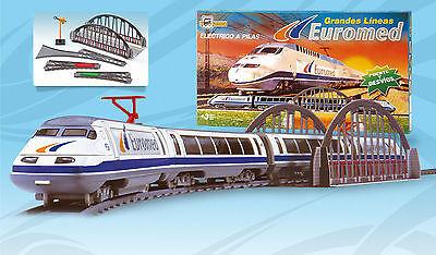 Tren Electrico Talgo Euromed Metalico Lineas Renfe con Puente y Desvíos 780