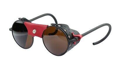 Julbo Vermont Matt Black Sunglass, Leather Shields Alti Arc 4+ Glass Cat. 4 Lens