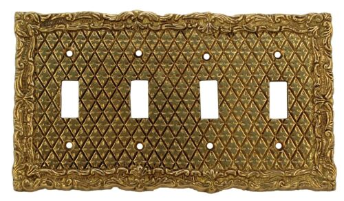 SOLID BRASS antique wall plate switch for four switches ITEM # 0100/6
